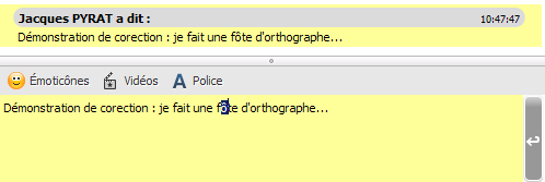 Le message en cours de correction