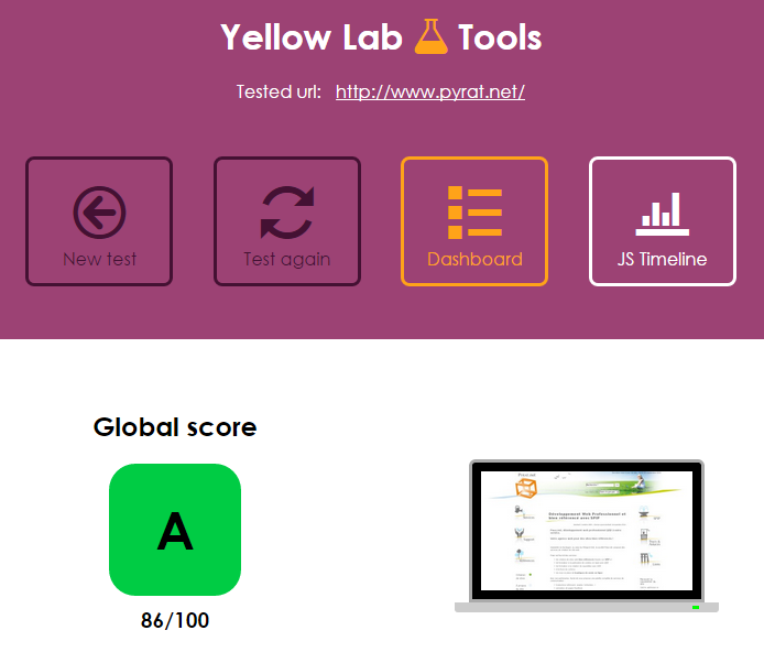 Pyrat net évalué par Yellow Lab Tools septembre 2015